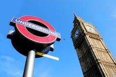 Londres grand Ben et souterrain/tube/métro signent Images stock