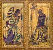 LONDRES, GRANDE-BRETAGNE - 14 SEPTEMBRE 2017 : La peinture d'annonce sur le bois sur l'autel dans le ` s de St Clement d'église images stock