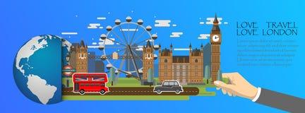 Londres infographic, global com os marcos de Inglaterra, estilo liso Amor Londres do curso do amor Imagem de Stock