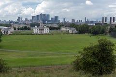 LONDRES, INGLATERRA - 17 DE JUNIO DE 2016: Panorama asombroso de Greenwich, Londres, Reino Unido Imagen de archivo libre de regalías