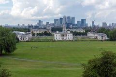LONDRES, INGLATERRA - 17 DE JUNIO DE 2016: Panorama asombroso de Greenwich, Londres, Reino Unido Imágenes de archivo libres de regalías