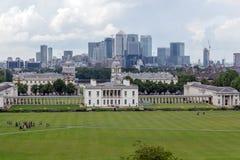 LONDRES, INGLATERRA - 17 DE JUNIO DE 2016: Panorama asombroso de Greenwich, Londres, Reino Unido Foto de archivo