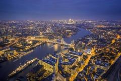 Londres, Inglaterra - opinião aérea da skyline de Londres Imagens de Stock Royalty Free