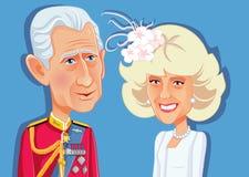 Londres, le R-U, le 9 décembre 2018, prince Charles et Camilla Parker Bowles Vector Caricature illustration libre de droits