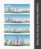 Londres, Moscou, Paris, New York Ensemble de bannière d'horizon de quatre villes illustration stock