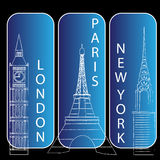Londres, newyork et Paris Images libres de droits