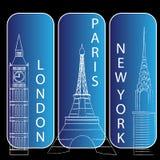 Londres, newyork y París Imágenes de archivo libres de regalías