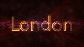 Londres - nombre de colocación brillante en Reino Unido, animación de la ciudad del texto stock de ilustración