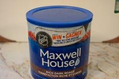 Londres Ontario Canad?, el 20 de abril de 2019: Lata de Maxwell House Brand de editorial llustrative de las habas del caf? molido fotografía de archivo