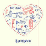 Londres Pen Drawn Doodles Vector Collection illustration stock