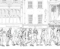 Londres, quai jaune canari Gens d'affaires pleurant dans la place Collection de croquis illustration stock