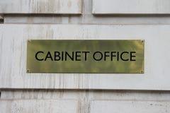 Londres, R-U - Janurary 28ème Signe en laiton en dehors du bureau de Cabinet dans Whitehall Londres 28 janvier 2017 Images libres de droits