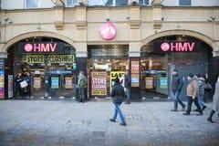 LONDRES, R-U - 16 MARS : Façade de magasin de HMV dans le cirque de Piccadilly Image libre de droits