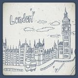 Londres rabisca a paisagem do desenho no estilo do vintage Imagem de Stock