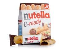 LONDRES, REINO UNIDO - 1º DE DEZEMBRO DE 2017: Barras de chocolate B-prontas nox de Nutella no branco Nutella é a marca de uma av Fotos de Stock Royalty Free
