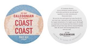 LONDRES, REINO UNIDO - 1º DE MARÇO DE 2018: Costa caledoniana da cervejaria para costear a pousa-copos original do beermat da cer imagens de stock