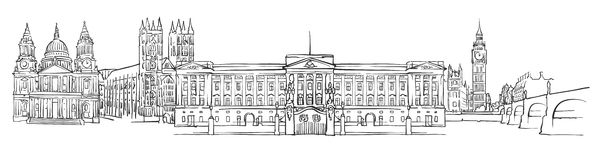 Londres, Reino Unido, bosquejo del panorama ilustración del vector