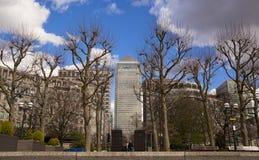 LONDRES, Reino Unido - CANARY WHARF, el 22 de marzo de 2014 avenida del oeste de la India Imágenes de archivo libres de regalías