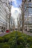 LONDRES, Reino Unido - CANARY WHARF, el 22 de marzo de 2014 avenida del oeste de la India Imagen de archivo libre de regalías