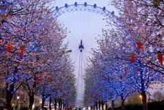 LONDRES, REINO UNIDO - 5 DE ABRIL DE 2014: Opinião da noite do olho de Londres, Londres Reino Unido Fotos de Stock Royalty Free