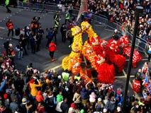 LONDRES, REINO UNIDO - 14 DE FEBRERO DE 2016: Presione el momento para el desfile de los leones adentro Imagen de archivo