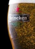 LONDRES, REINO UNIDO - 6 DE FEBRERO DE 2019: Vidrio original de Heineken Lager Beer encima del barril de madera viejo fotografía de archivo libre de regalías