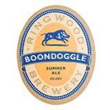 LONDRES, REINO UNIDO - 4 DE FEVEREIRO DE 2018: Pousa-copos do beermat do Boondoggle da cervejaria de Ringwood isolada no branco Fotos de Stock