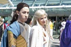 LONDRES, Reino Unido - 26 de mayo: Señor del cosp de los anillos Elrond y de Galadriel Fotografía de archivo libre de regalías
