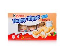 LONDRES, Reino Unido - 17 de novembro de 2017: Caixa feliz do hipopótamo do chocolate mais amável no branco Umas barras mais amáv Imagem de Stock
