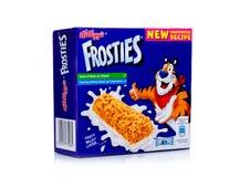 LONDRES, Reino Unido - 17 de noviembre de 2017: La caja de barra del cereal de desayuno del ` s Frosties de Kellogg en el blanco, Imagen de archivo