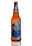 LONDRES, REINO UNIDO, O 15 DE DEZEMBRO DE 2016: A garrafa de Tiger Beer no fundo branco, lançada primeiramente em 1932 é cerveja  imagens de stock royalty free