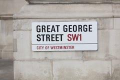 Londres, Reino Unido, o 7 de fevereiro de 2019, sinal para grande George St imagem de stock royalty free