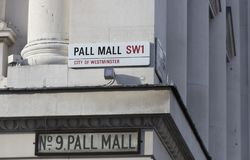 Londres, Reino Unido, o 7 de fevereiro de 2019, sinal para Pall Mall fotos de stock royalty free