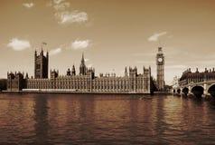 Londres, Reino Unido - palácio de casas de Westminster de Parlia Foto de Stock