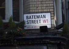 Londres, Royaume-Uni, le 7 février 2019, signe pour le St de Bateman image libre de droits