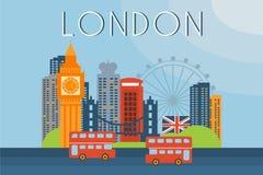 Londres, señales del viaje, ejemplo del vector de la arquitectura de la ciudad en estilo plano libre illustration