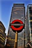 Londres Warf amarillo subterráneo Foto de archivo libre de regalías