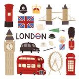 Londyńscy podróży ikon anglicy ustawiają miasta Europe kultury Britain chorągwianej turystyki England tradycyjną wektorową ilustr royalty ilustracja