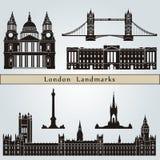 Londyńscy punkty zwrotni i zabytki ilustracja wektor