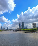 Londyńska linia horyzontu strzelał sławni nowi budynki w środkowym Londyn Obraz Stock