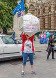 Londyńska, UK kobieta trzyma szyldowego outside parlamentu wymagającą akcję na zmiana klimatu/- Czerwiec 26th 2019 - zdjęcia royalty free