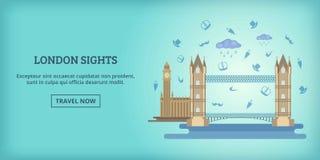 Londyński budynku sztandar horyzontalny, kreskówka styl ilustracji