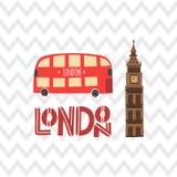 Londyński czerwony autobus i Big Ben na zygzakowatego wzoru tle ilustracja wektor