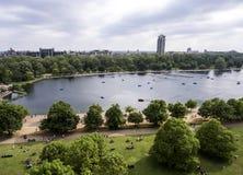 Londyński duży Hyde park w mieście chłodzi antenę Obraz Royalty Free