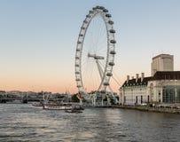 Londyński oczu ferris koło na banku Thames Fotografia Stock