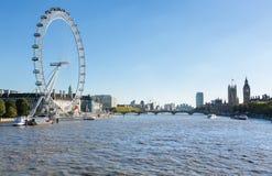 Londyński oczu ferris koło na banku Thames Obrazy Royalty Free
