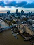 Londyński pejzaż miejski powietrznej fotografii sektor biznesu Obraz Stock