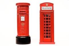 Londyński postbox i telefoniczny pudełko Zdjęcia Stock