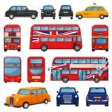 Londyński samochodowy wektorowy brytyjski taksówki taxi i uk czerwony autobus dla odtransportowywać w England ilustracyjnym ustaw ilustracji