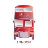 Londyński symbol Nowożytny - Czerwonego autobusowego ikony †'Kolorowe grafika - Zdjęcia Stock